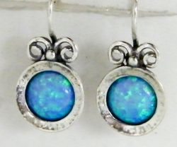 Israeli blue opal sterling silver earrings