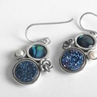 Israeli jewelry dangle earrings druze stone