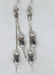 Israeli jewelry dangle pearls earrings