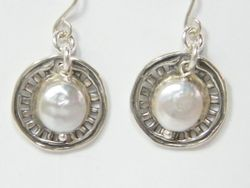 Israeli silver earrings with pearls