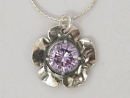 Israeli jewelry flower pendant sterling silver purple crystal