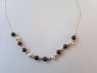 Israeli jewelry garnets pearls silver necklace