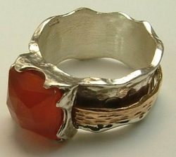 Israeli jewelry Gemstone ring sterling silver gold