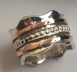 Israeli jewelry meditation ring silver gold