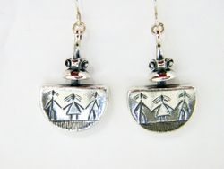 Sterling silver jewelry earrings Naif drawing motif