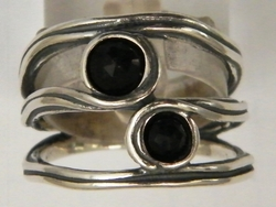 Israeli jewelry onyx silver ring bague anillo