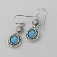 Israeli jewelry opals sterling silver earrings
