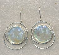 Israeli jewelry roman glass on silver earrings