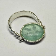 Israeli jewelry roman glass silver ring