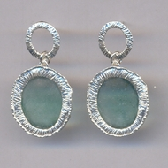 Israeli jewelry roman glass sterling silver brushed earrings. Boucles d'oreilles verre romain