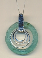 Israeli jewelry roman glass sterling silver necklace