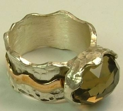 Israeli jewelry semi precious stone silver and gold ring