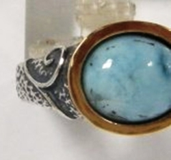 Israeli jewelry silver and gold ring labradorite or turquoise