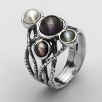 Israeli jewelry silver pearls ring with amethyst
