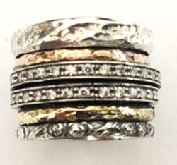 Israeli jewelry spinner ring cz zirconia