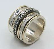 Israeli jewelry Cubic Zirconia Ring spinner ring silver gold cz