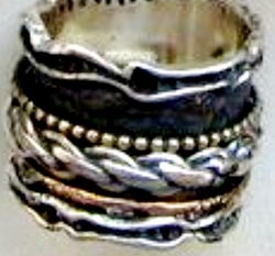Israeli jewelry |spinner ring |silver & gold ring