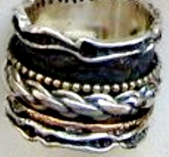 Israeli jewelry  spinner ring  silver & gold ring