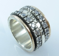 Israeli jewelry | Spinner rings | cz silver and yellow gold |ani le dodi | Cubic Zirconia Ring