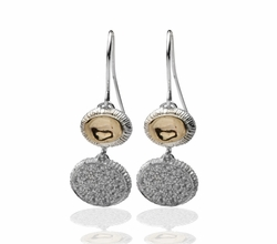 Israeli jewelry sterling silver earrings with gold