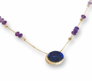 Israeli necklace 14 kt gold amethyst and titanium druzy quartz