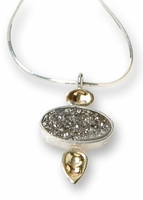 Israeli necklace silver 925 and gold set with a silver druzy quartz