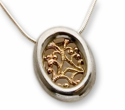 Israeli necklace silver and gold 9KTpendant
