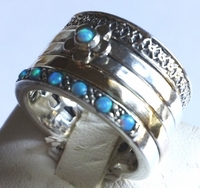 Israeli ring silver gold opals and flower