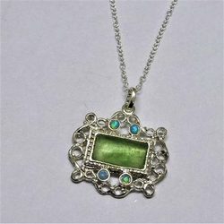 Israeli roman glass artistic silver necklace antique romantic style set with opals