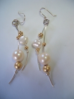 Israeli silver and cultured pearls  earrings