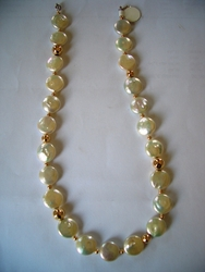 Israeli silver and cultured pearls necklace