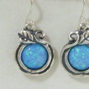 Israeli silver earrings blue opal earrings