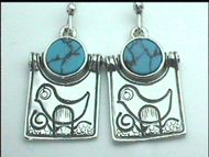 Israeli silver earrings naif motif