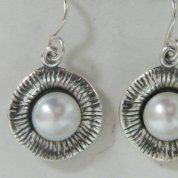 Israeli silver earrings | pearl earrings
