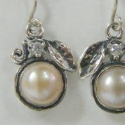 Israeli Silver Earrings | pearl earrings | zircon earrings