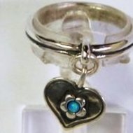 Israeli silver heart ring with opal