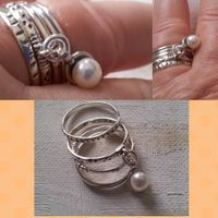 Israeli Silver jewelry stacking rings set with a pearl