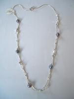 Israeli silver necklace opal synthetic and swarovski
