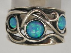 Israeli silver ring with blue opals