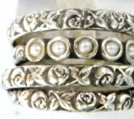 Israeli silver ring pearls & flowers