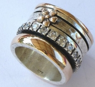 Israeli spinner ring in silver and 9 ct  gold  designer israeli jewelry gold flower free shipping