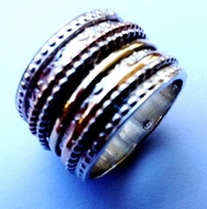 Israeli spinner ring silver and gold Meditation ring