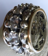 Israeli spinner ring silver gold and cz stones
