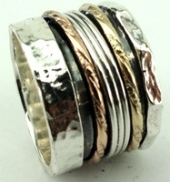 Israeli spinner ring silver gold spinning ring Meditation ring Bague Anillo