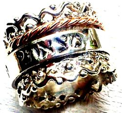 Israeli spinning ring Lace design Sterling silver and 9ct gold