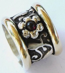 Israeli Spinning ring Designer jewelry silver and gold fabulous design ring flower motif free shipping