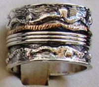 Israeli spinning ring silver and gold stackable