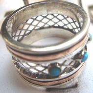 Israeli spinning ring sterling silver 9 carat  gold opal stones