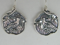 Israeli sterling silver earrings motif Israeli bird - Duchifat