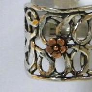Israeli sterling silver ring bronze flower BOHO